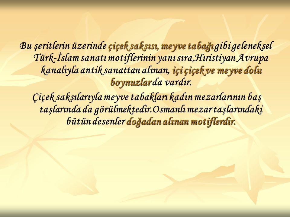 Bu şeritlerin üzerinde çiçek saksısı, meyve tabağı gibi geleneksel Türk-İslam sanatı motiflerinin yanı sıra,Hıristiyan Avrupa kanalıyla antik sanattan alınan, içi çiçek ve meyve dolu boynuzlar da vardır.