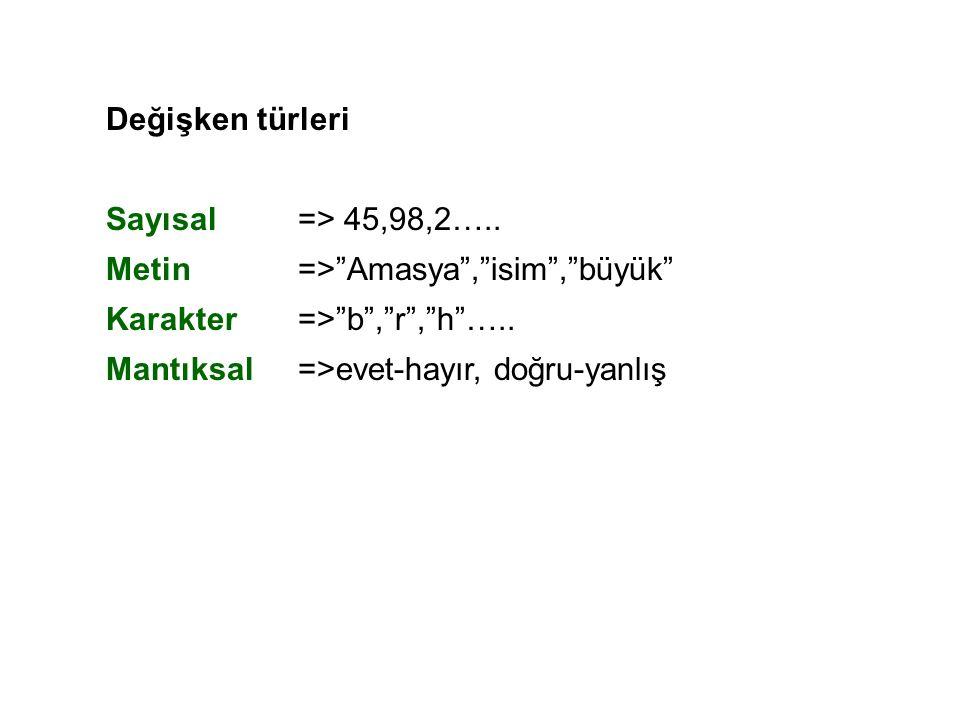 Değişken türleri Sayısal => 45,98,2….. Metin => Amasya , isim , büyük Karakter => b , r , h …..