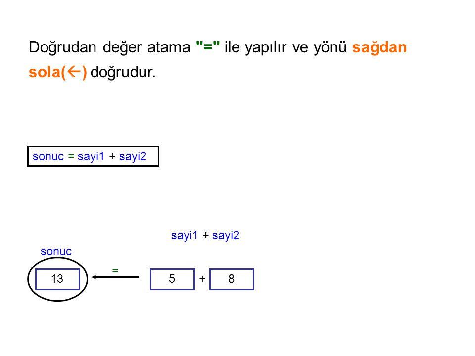Doğrudan değer atama = ile yapılır ve yönü sağdan sola() doğrudur.