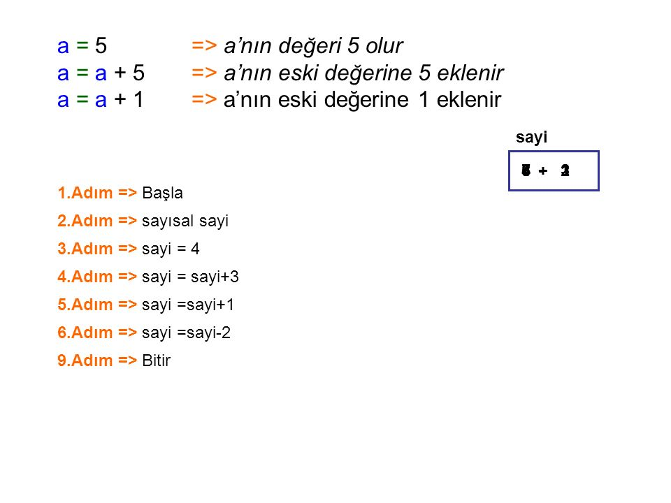 a = 5 => a'nın değeri 5 olur