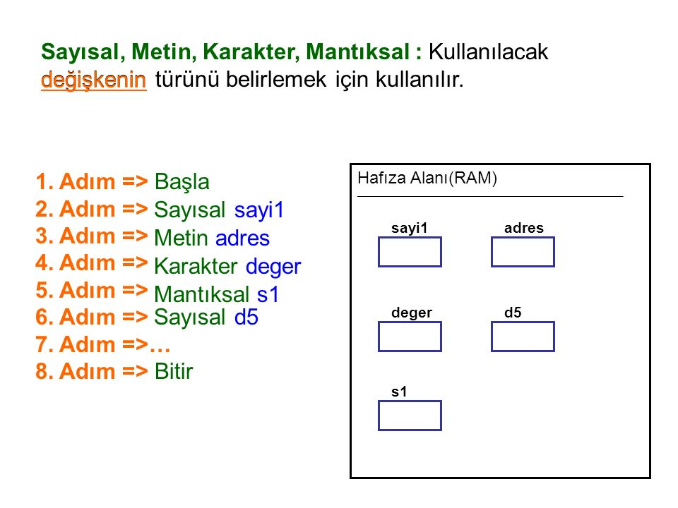Sayısal, Metin, Karakter, Mantıksal : Kullanılacak değişkenin türünü belirlemek için kullanılır.