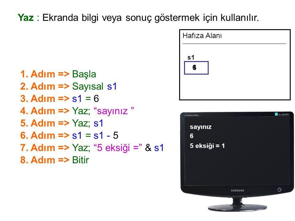 Yaz : Ekranda bilgi veya sonuç göstermek için kullanılır.