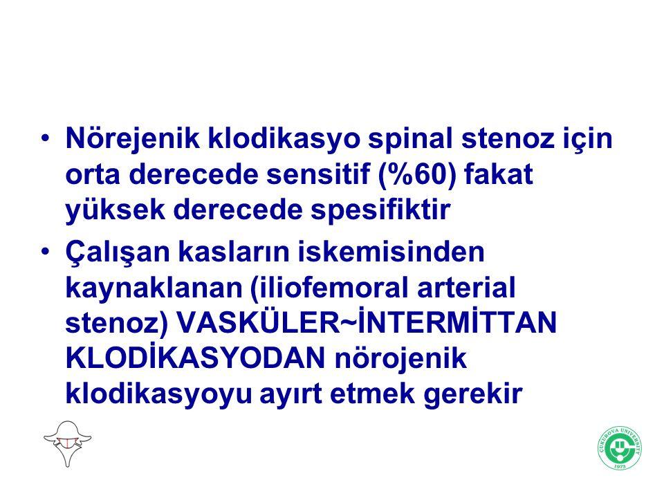 Nörejenik klodikasyo spinal stenoz için orta derecede sensitif (%60) fakat yüksek derecede spesifiktir
