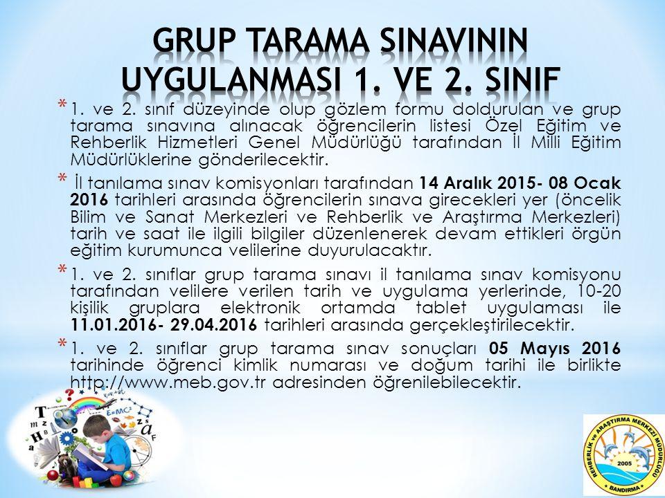 GRUP TARAMA SINAVININ UYGULANMASI 1. VE 2. SINIF