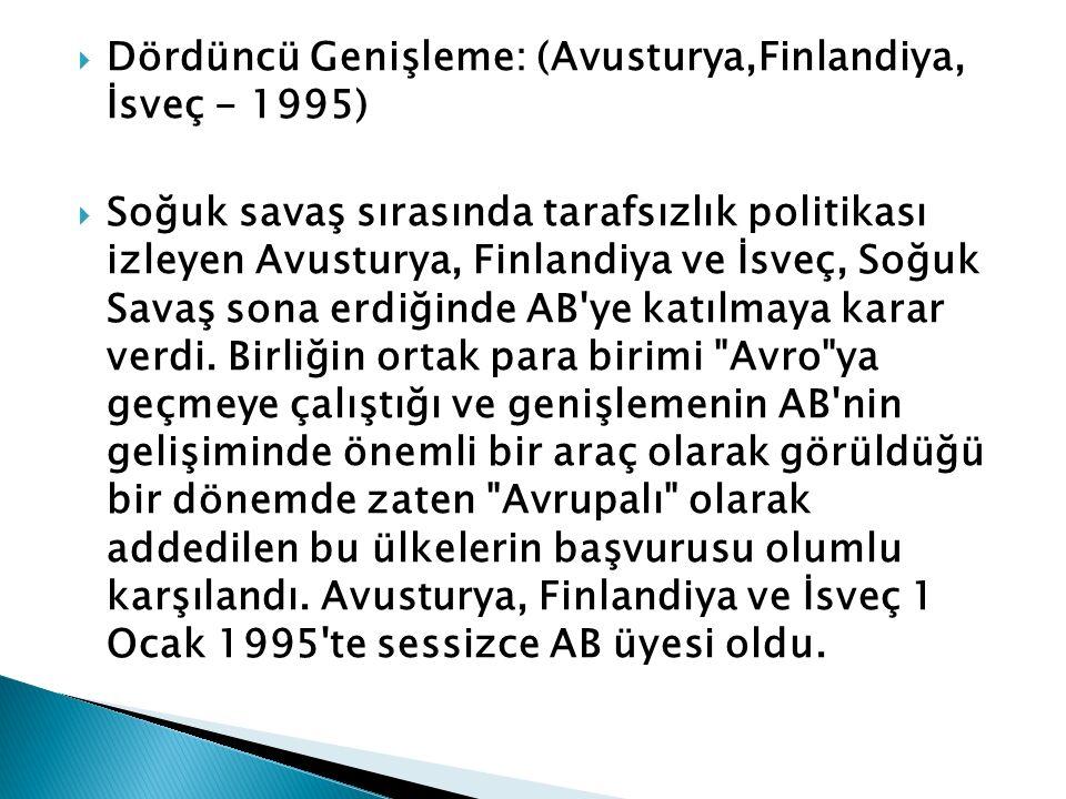 Dördüncü Genişleme: (Avusturya,Finlandiya, İsveç - 1995)
