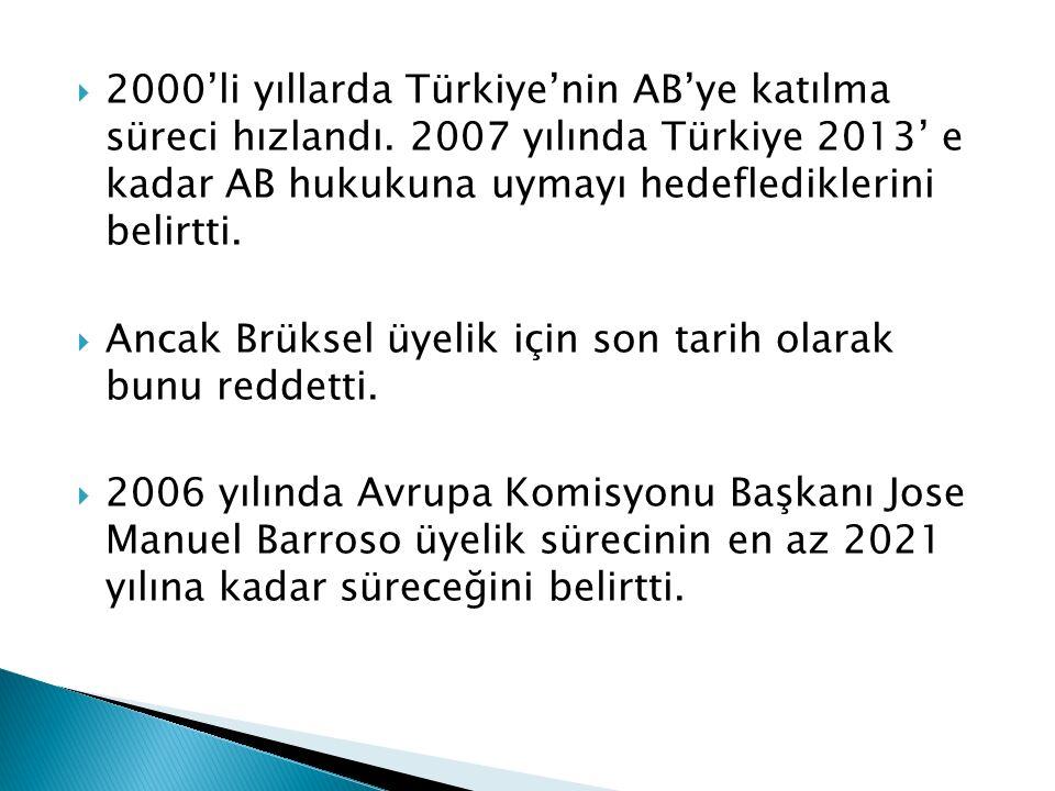 2000'li yıllarda Türkiye'nin AB'ye katılma süreci hızlandı