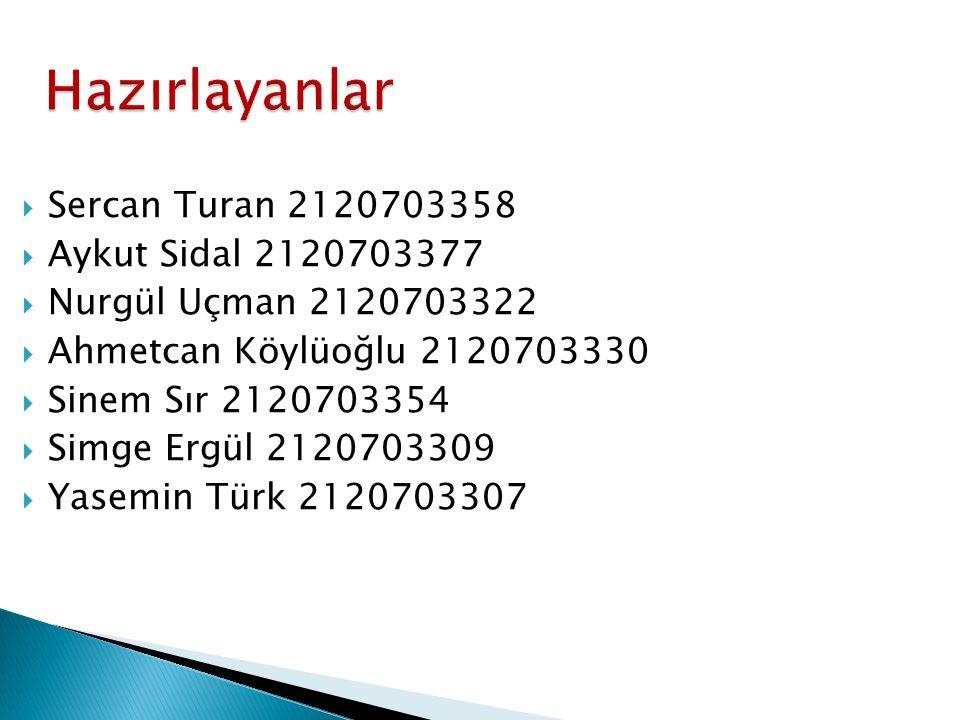 Hazırlayanlar Sercan Turan 2120703358 Aykut Sidal 2120703377
