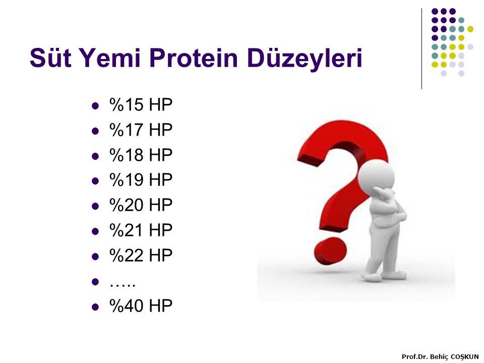 Süt Yemi Protein Düzeyleri