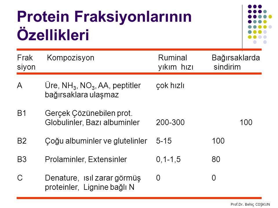 Protein Fraksiyonlarının Özellikleri