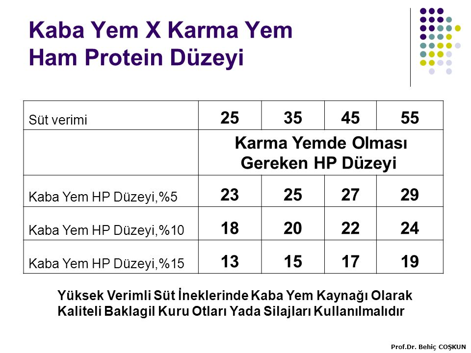 Kaba Yem X Karma Yem Ham Protein Düzeyi