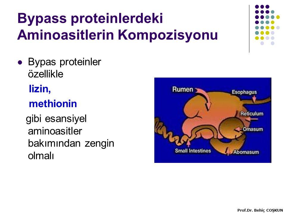 Bypass proteinlerdeki Aminoasitlerin Kompozisyonu