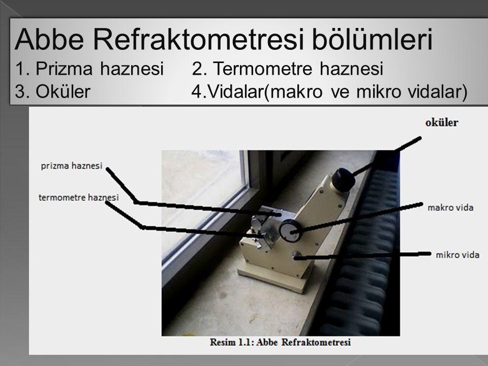 Abbe Refraktometresi bölümleri