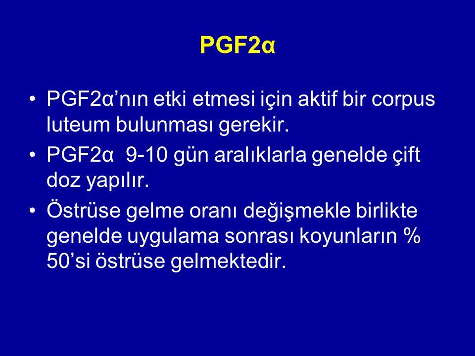 PGF2α PGF2α'nın etki etmesi için aktif bir corpus luteum bulunması gerekir. PGF2α 9-10 gün aralıklarla genelde çift doz yapılır.