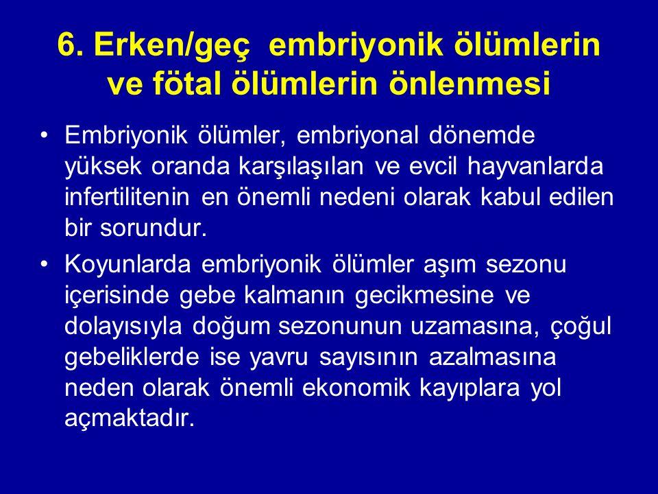 6. Erken/geç embriyonik ölümlerin ve fötal ölümlerin önlenmesi