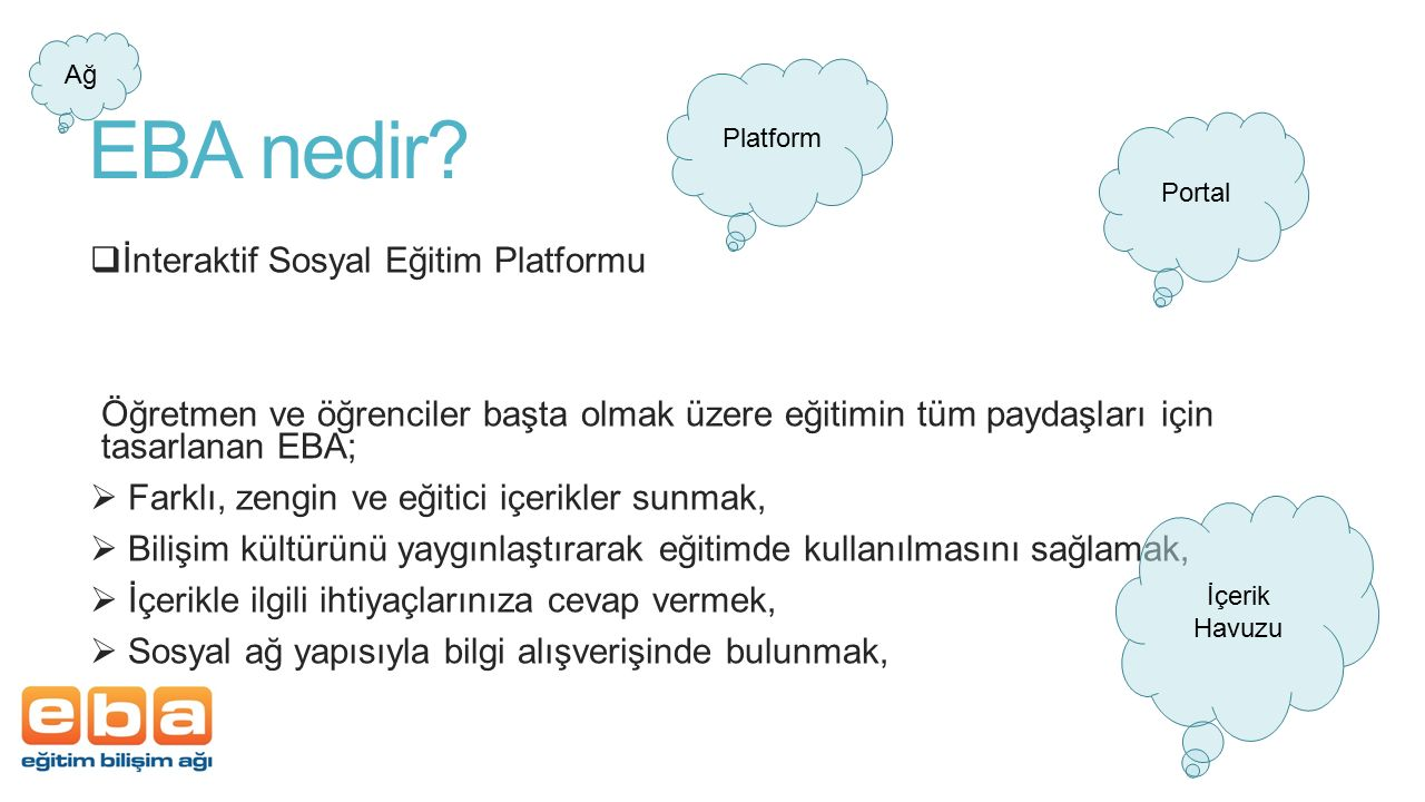 EBA nedir İnteraktif Sosyal Eğitim Platformu