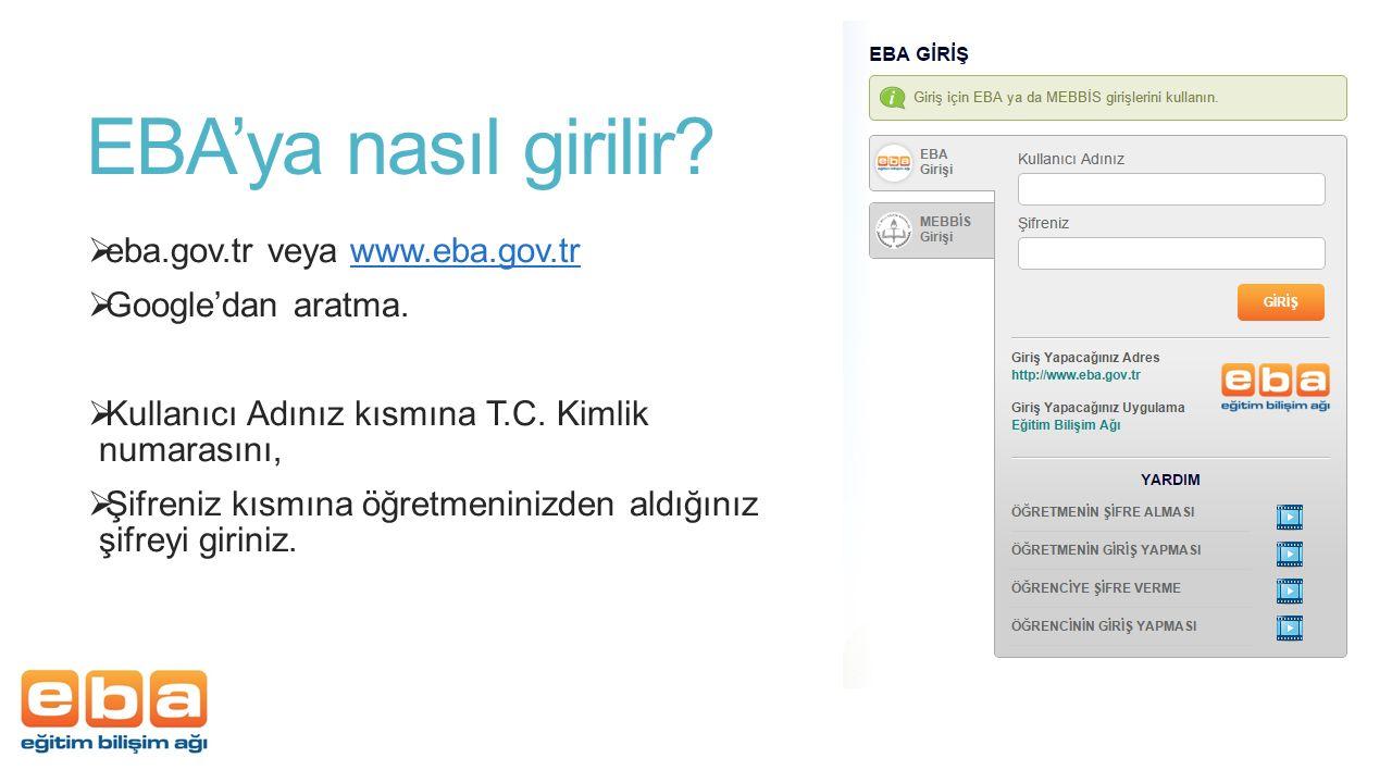 EBA'ya nasıl girilir eba.gov.tr veya www.eba.gov.tr