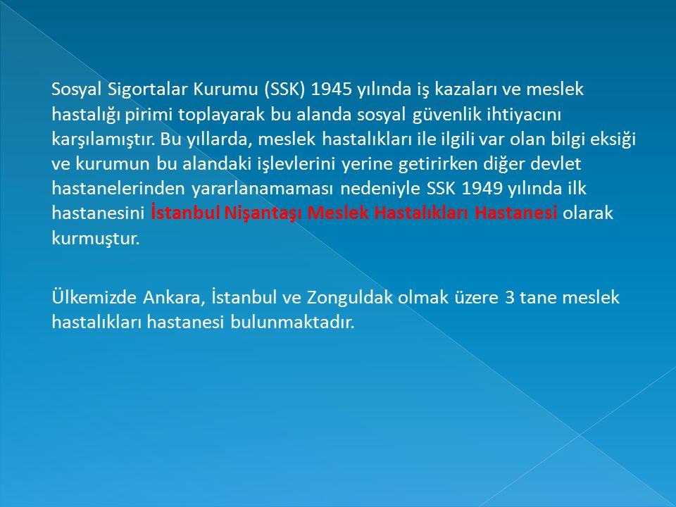 Sosyal Sigortalar Kurumu (SSK) 1945 yılında iş kazaları ve meslek hastalığı pirimi toplayarak bu alanda sosyal güvenlik ihtiyacını karşılamıştır. Bu yıllarda, meslek hastalıkları ile ilgili var olan bilgi eksiği ve kurumun bu alandaki işlevlerini yerine getirirken diğer devlet hastanelerinden yararlanamaması nedeniyle SSK 1949 yılında ilk hastanesini İstanbul Nişantaşı Meslek Hastalıkları Hastanesi olarak kurmuştur.
