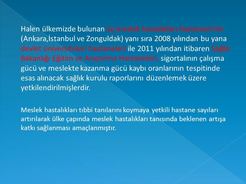 Halen ülkemizde bulunan üç meslek hastalıkları hastanesi'nin (Ankara,İstanbul ve Zonguldak) yanı sıra 2008 yılından bu yana devlet üniversiteleri hastaneleri ile 2011 yılından itibaren Sağlık Bakanlığı Eğitim ve Araştırma Hastaneleri, sigortalının çalışma gücü ve meslekte kazanma gücü kaybı oranlarının tespitinde esas alınacak sağlık kurulu raporlarını düzenlemek üzere yetkilendirilmişlerdir.