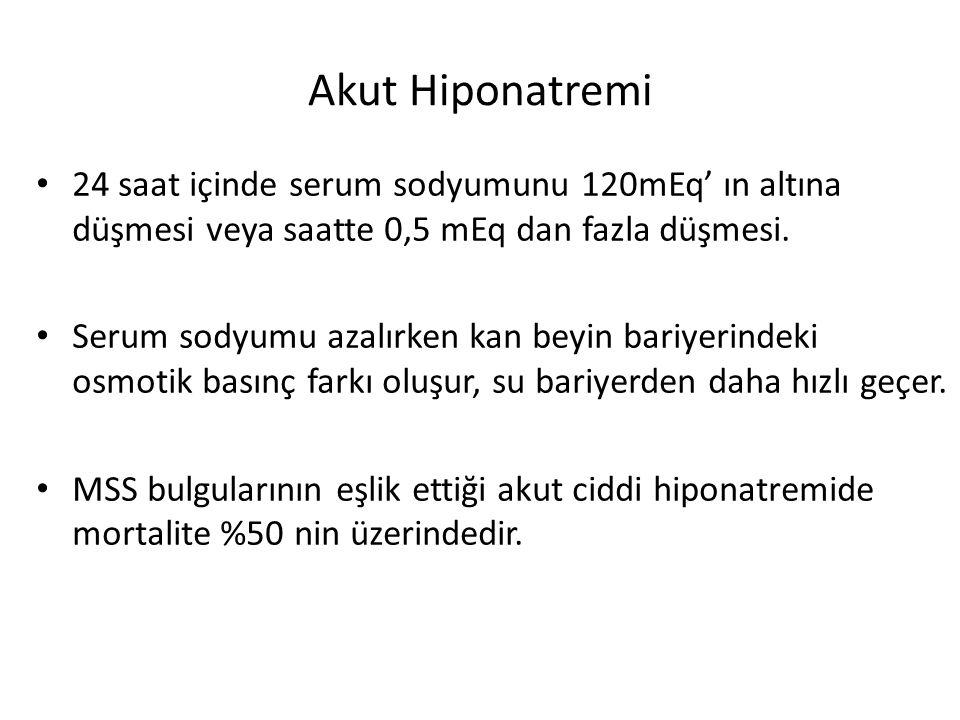 Akut Hiponatremi 24 saat içinde serum sodyumunu 120mEq' ın altına düşmesi veya saatte 0,5 mEq dan fazla düşmesi.