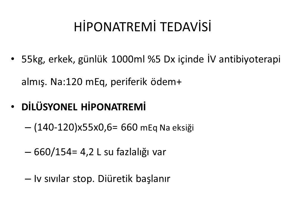 HİPONATREMİ TEDAVİSİ 55kg, erkek, günlük 1000ml %5 Dx içinde İV antibiyoterapi almış. Na:120 mEq, periferik ödem+