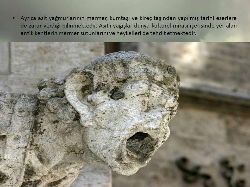Ayrıca asit yağmurlarının mermer, kumtaşı ve kireç taşından yapılmış tarihi eserlere de zarar verdiği bilinmektedir.