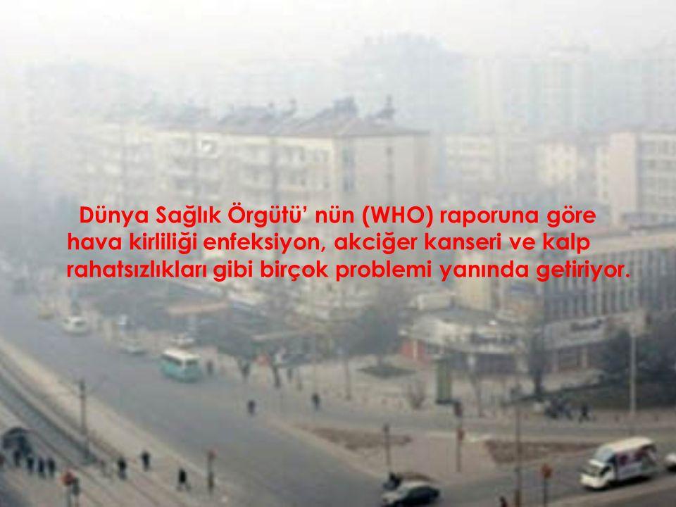 Dünya Sağlık Örgütü' nün (WHO) raporuna göre hava kirliliği enfeksiyon, akciğer kanseri ve kalp rahatsızlıkları gibi birçok problemi yanında getiriyor.