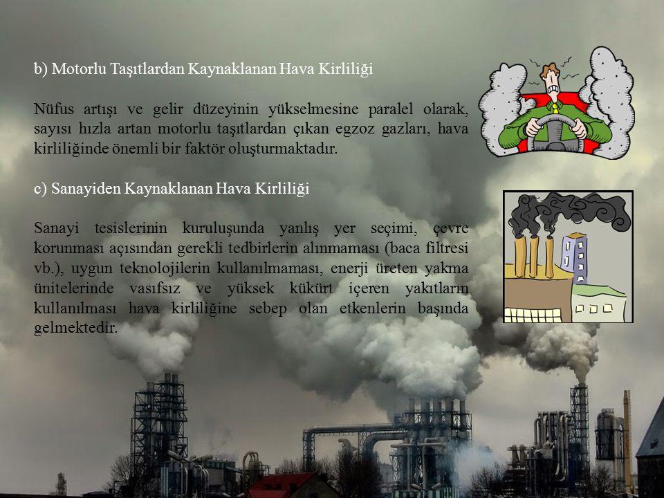 b) Motorlu Taşıtlardan Kaynaklanan Hava Kirliliği