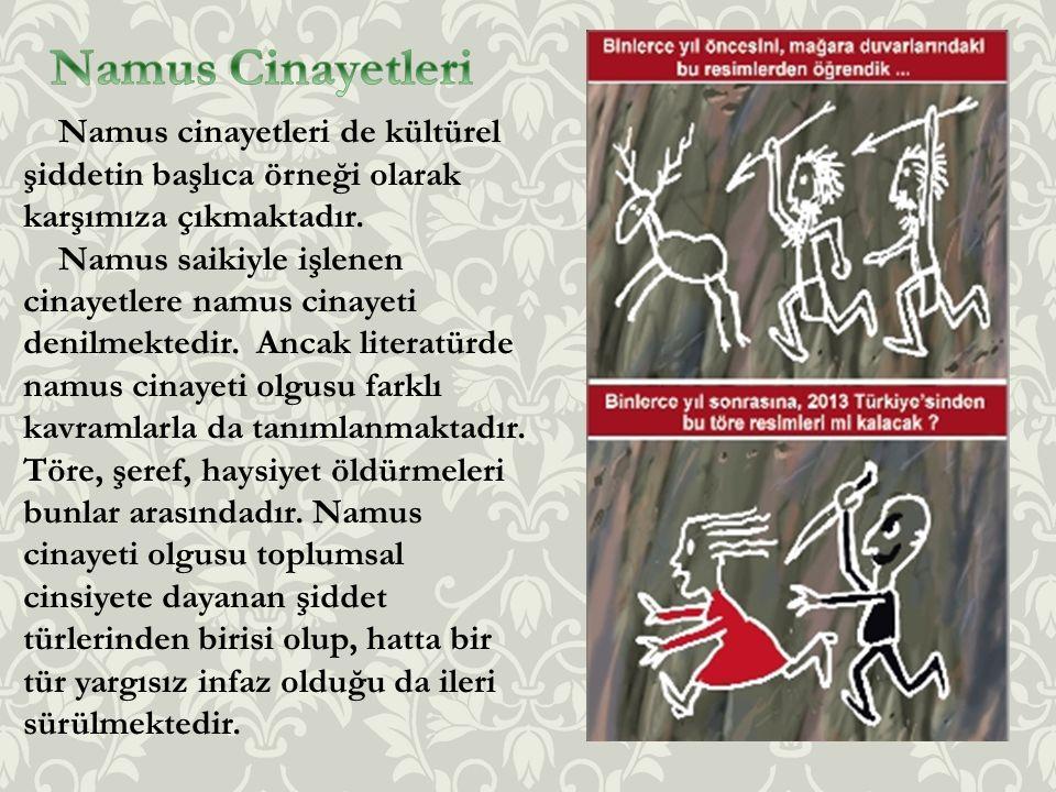 Namus Cinayetleri Namus cinayetleri de kültürel şiddetin başlıca örneği olarak karşımıza çıkmaktadır.