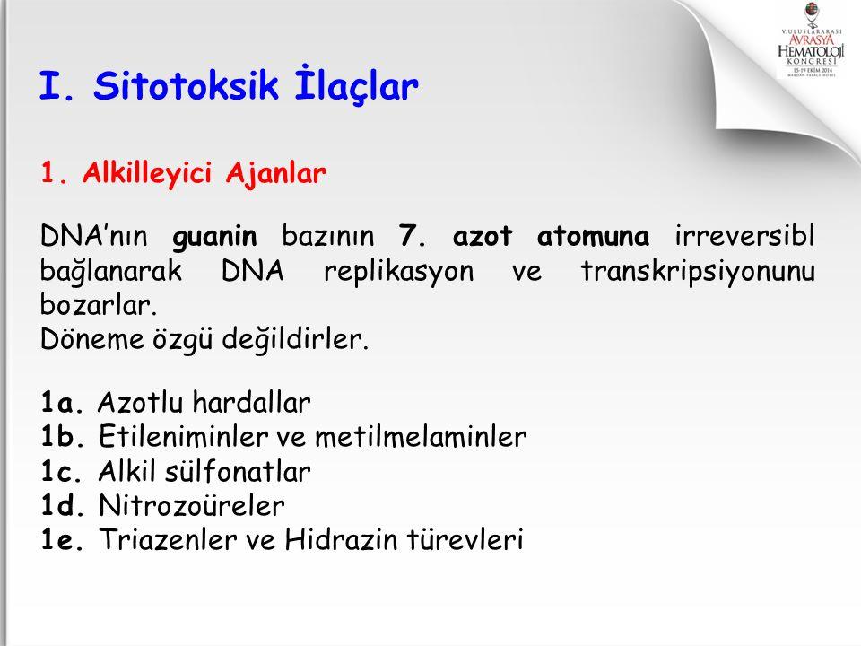 I. Sitotoksik İlaçlar 1. Alkilleyici Ajanlar
