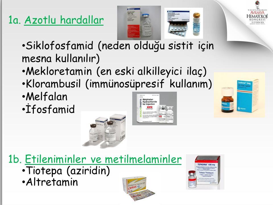 1a. Azotlu hardallar Siklofosfamid (neden olduğu sistit için. mesna kullanılır) Mekloretamin (en eski alkilleyici ilaç)