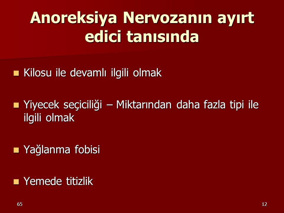 Anoreksiya Nervozanın ayırt edici tanısında