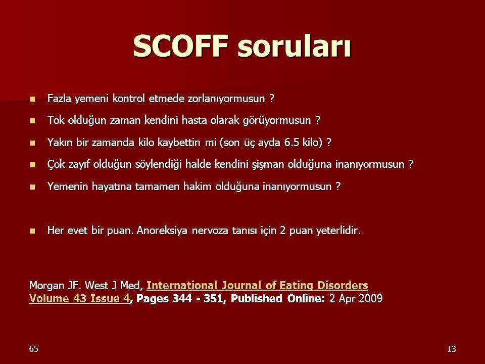 SCOFF soruları Fazla yemeni kontrol etmede zorlanıyormusun