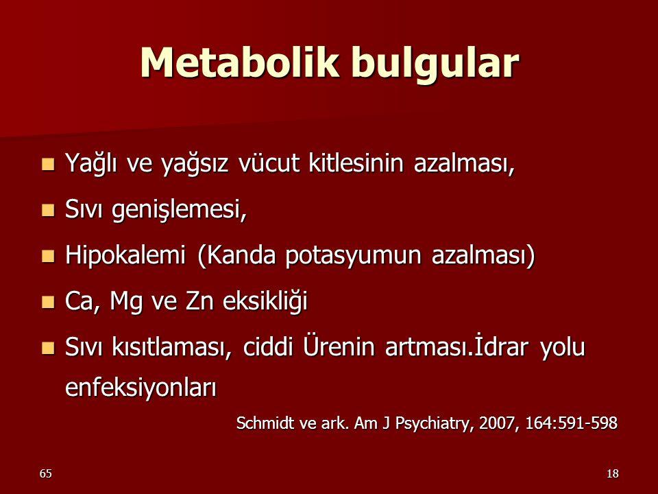 Metabolik bulgular Yağlı ve yağsız vücut kitlesinin azalması,