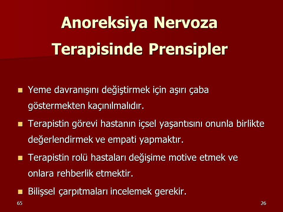 Anoreksiya Nervoza Terapisinde Prensipler