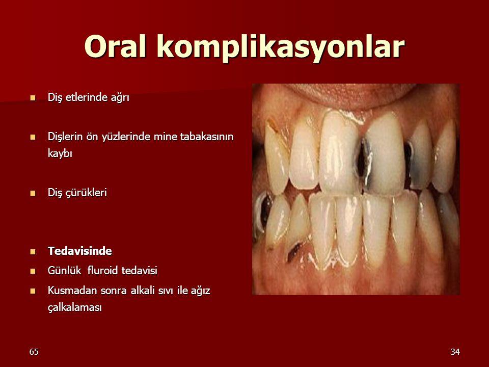Oral komplikasyonlar Diş etlerinde ağrı