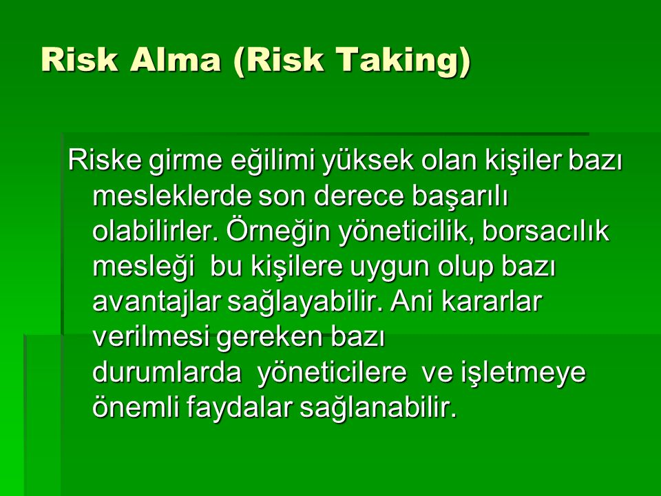 Risk Alma (Risk Taking)