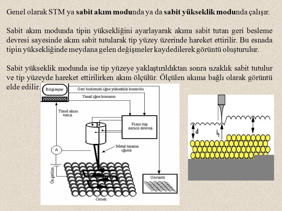 Genel olarak STM ya sabit akım modunda ya da sabit yükseklik modunda çalışır.