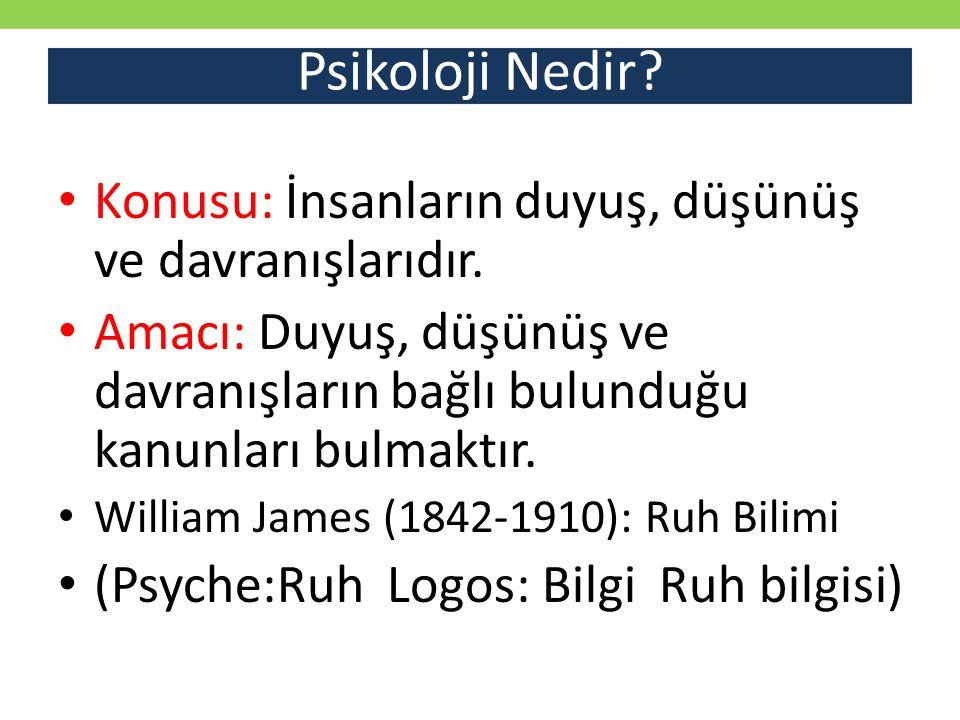 Psikoloji Nedir Konusu: İnsanların duyuş, düşünüş ve davranışlarıdır.