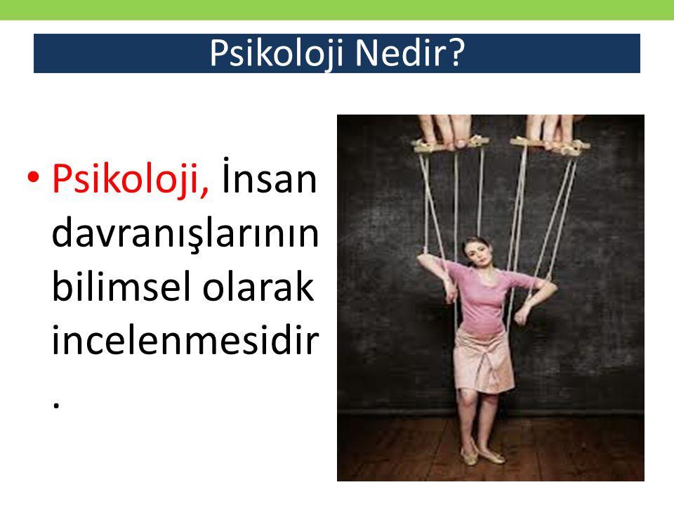 Psikoloji, İnsan davranışlarının bilimsel olarak incelenmesidir.