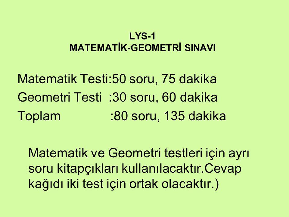 LYS-1 MATEMATİK-GEOMETRİ SINAVI