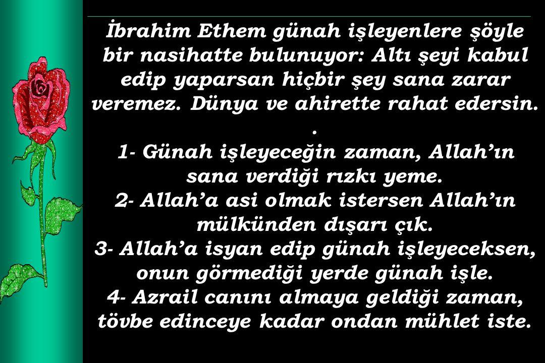 1- Günah işleyeceğin zaman, Allah'ın sana verdiği rızkı yeme.