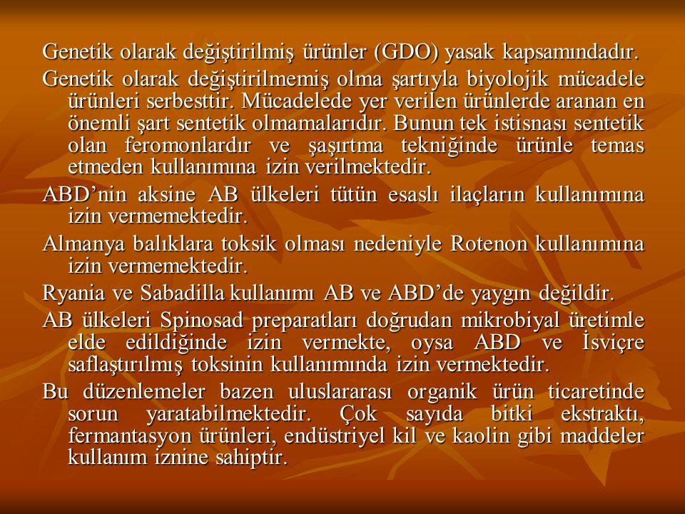 Genetik olarak değiştirilmiş ürünler (GDO) yasak kapsamındadır.