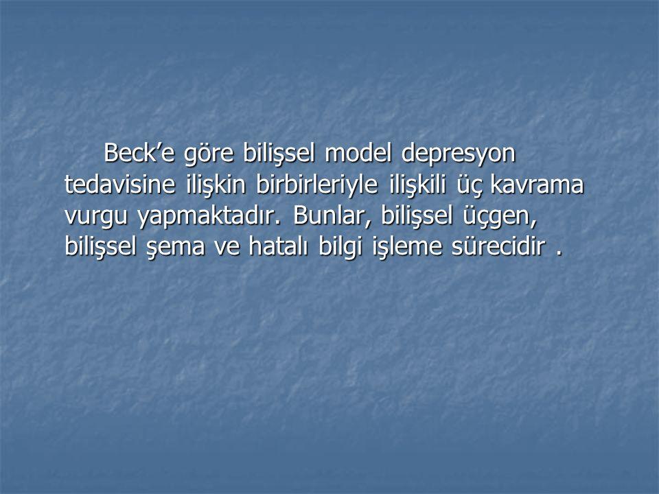 Beck'e göre bilişsel model depresyon tedavisine ilişkin birbirleriyle ilişkili üç kavrama vurgu yapmaktadır.