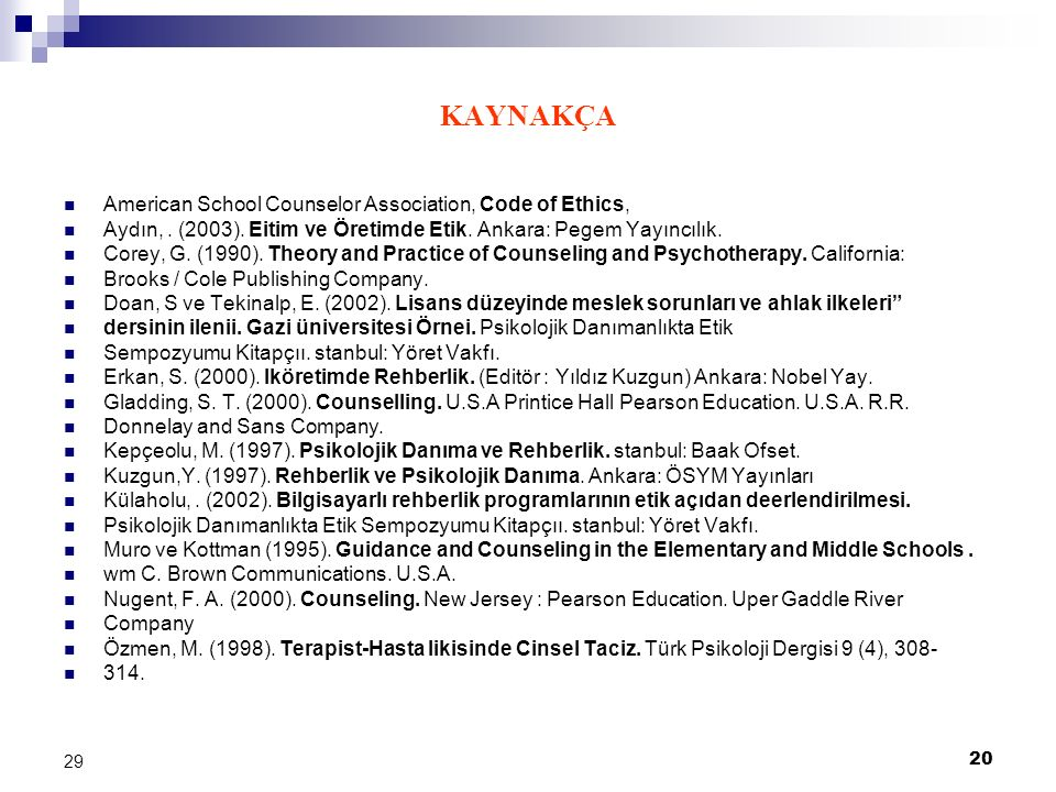 KAYNAKÇA American School Counselor Association, Code of Ethics,