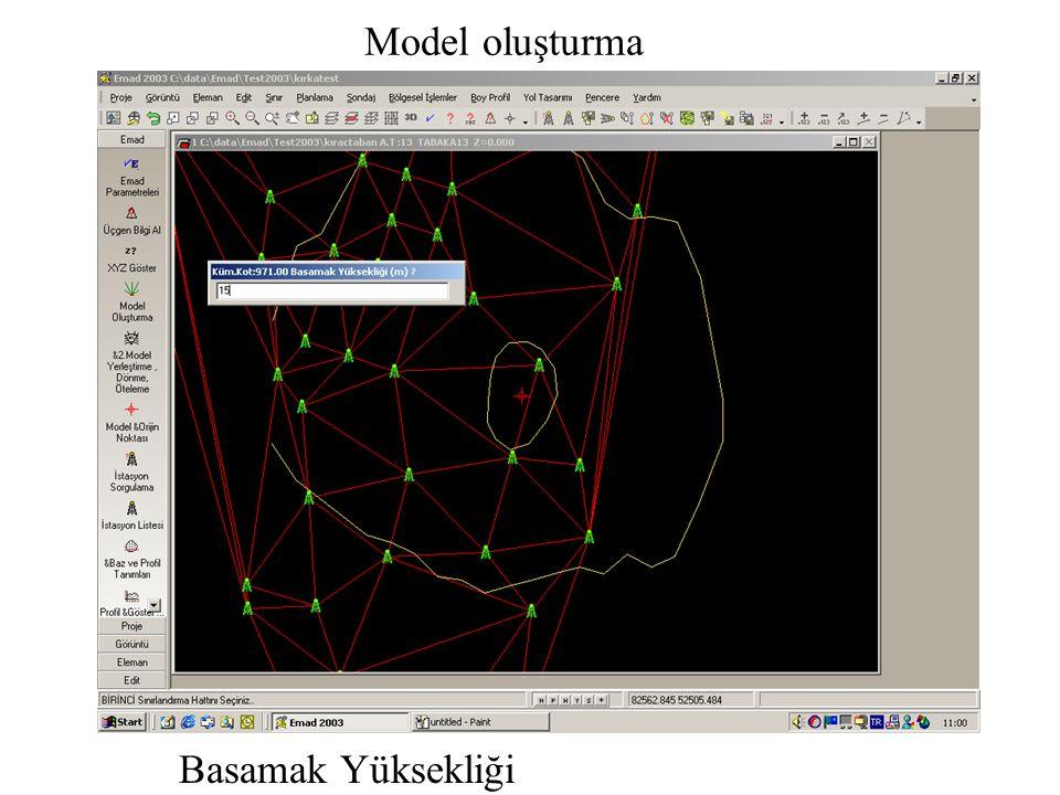 Model oluşturma Basamak Yüksekliği