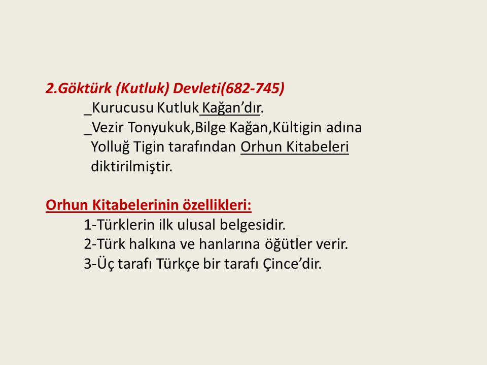 2.Göktürk (Kutluk) Devleti(682-745)