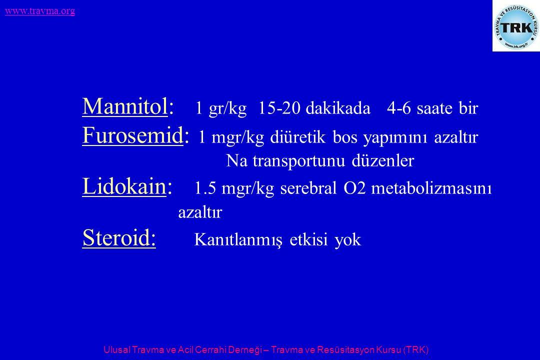 Mannitol: 1 gr/kg 15-20 dakikada 4-6 saate bir