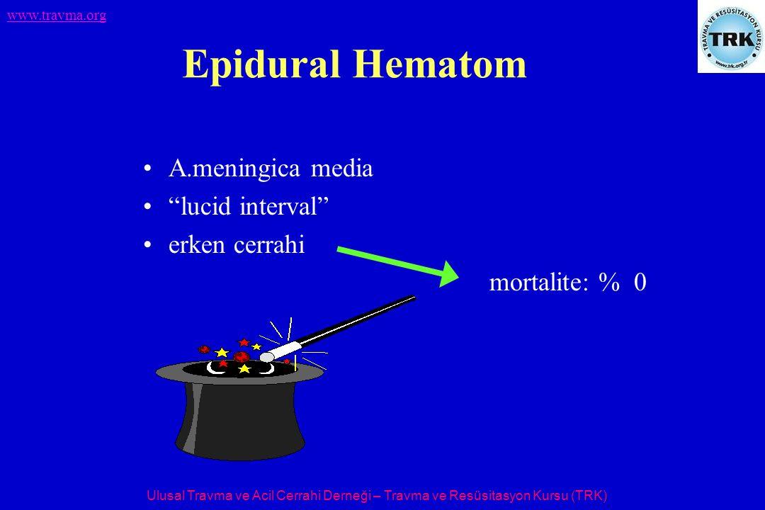Epidural Hematom A.meningica media lucid interval erken cerrahi