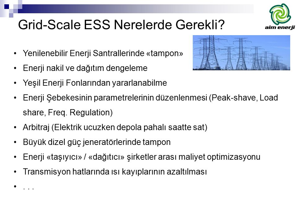 Grid-Scale ESS Nerelerde Gerekli