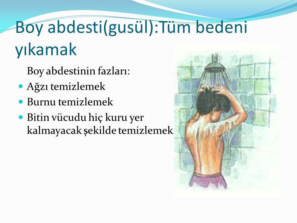 Boy abdesti(gusül):Tüm bedeni yıkamak